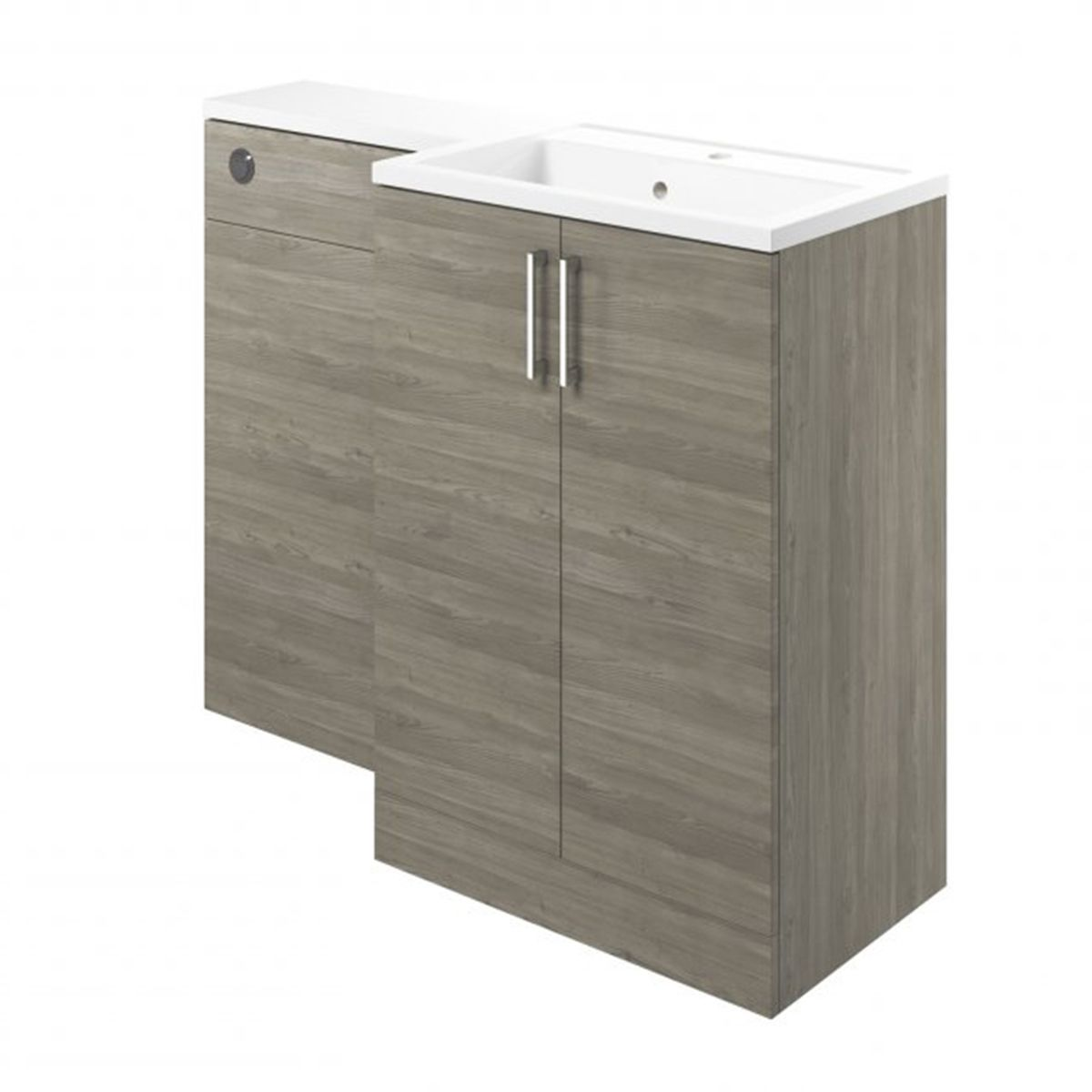 Moods Volta Grey Nordic Wood Right Hand Vanity Unit with Basin 1100mm