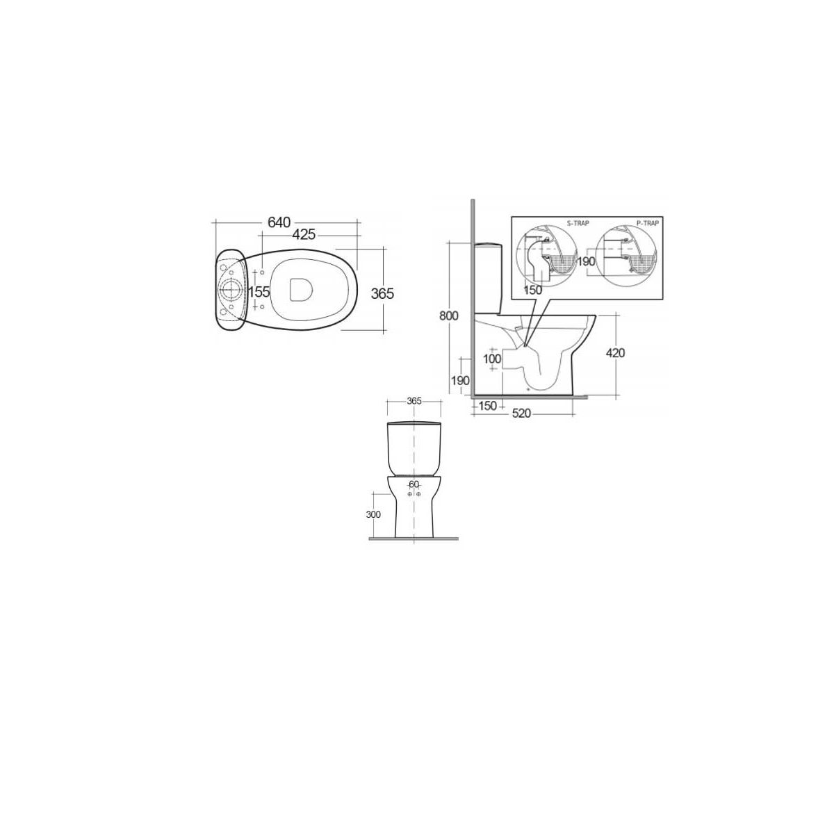 RAK Morning Back To Wall Toilet with Soft Close Seat Measurements