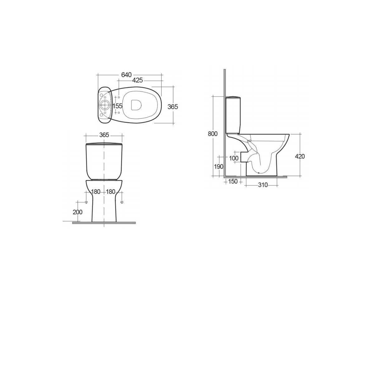 RAK Morning Close Coupled Toilet with Soft Close Seat Measurements