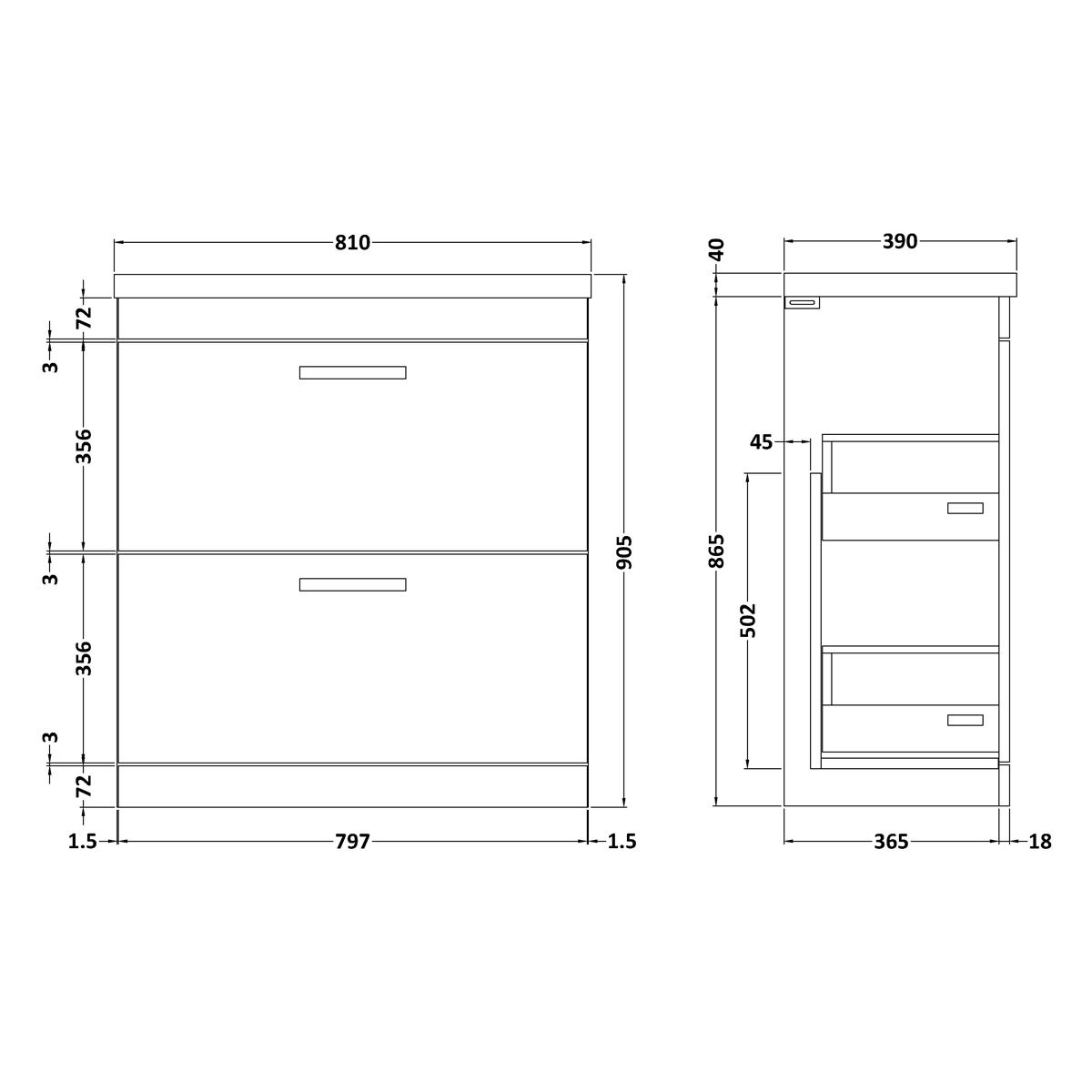 Nuie Athena Gloss Grey 2 Drawer Floor Standing Vanity Unit 800mm with Thin Edge Basin Dimensions