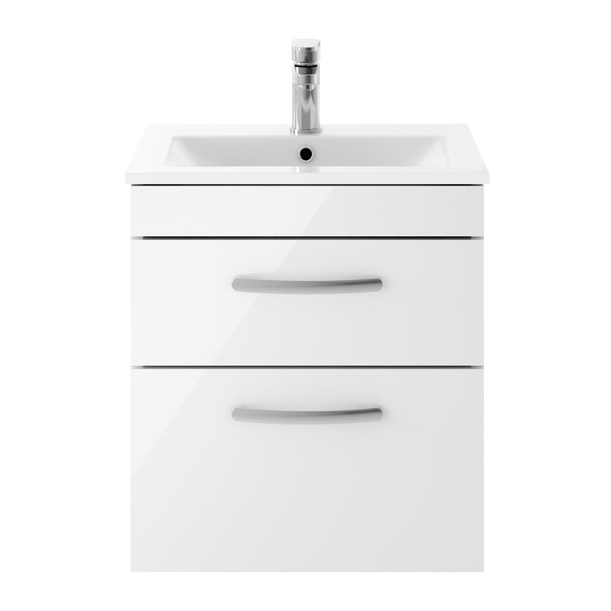 Nuie Athena Gloss White 2 Drawer Wall Hung Vanity Unit with 18mm Profile Basin 500mm