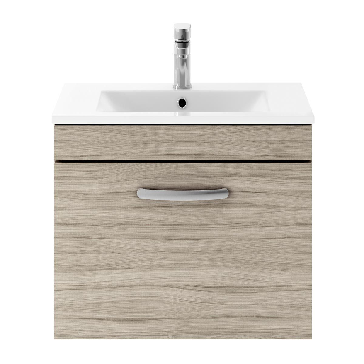 Nuie Athena Driftwood 1 Drawer Wall Hung Vanity Unit with 18mm Profile Basin 600mm