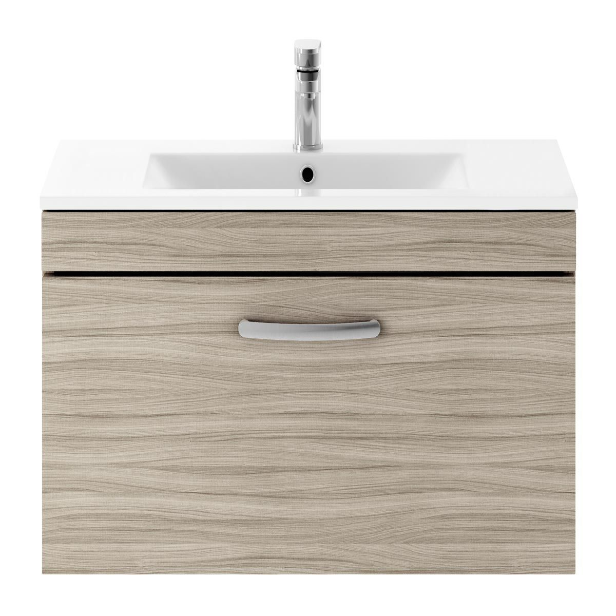 Nuie Athena Driftwood 1 Drawer Wall Hung Vanity Unit with 18mm Profile Basin 800mm