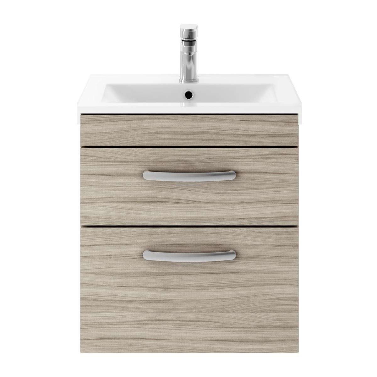 Nuie Athena Driftwood 2 Drawer Wall Hung Vanity Unit with 18mm Profile Basin 500mm
