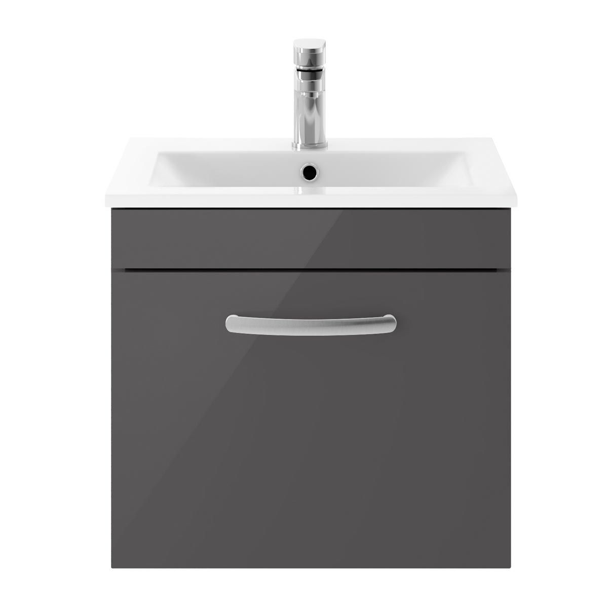 Nuie Athena Gloss Grey 1 Drawer Wall Hung Vanity Unit with 18mm Profile Basin 500mm