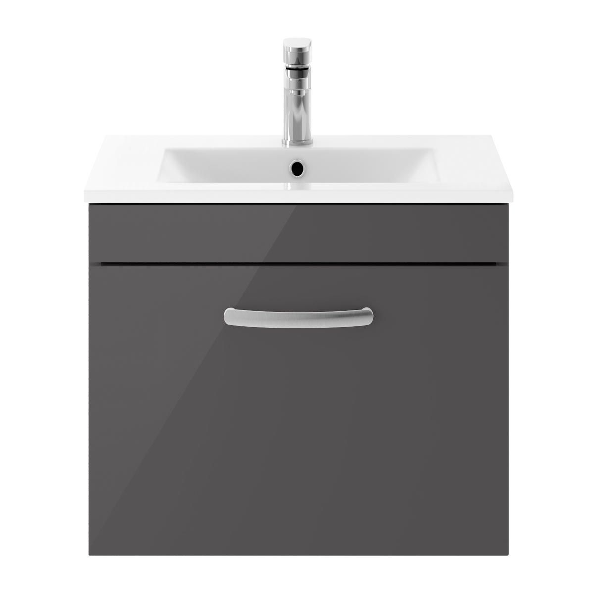 Nuie Athena Gloss Grey 1 Drawer Wall Hung Vanity Unit with 18mm Profile Basin 600mm