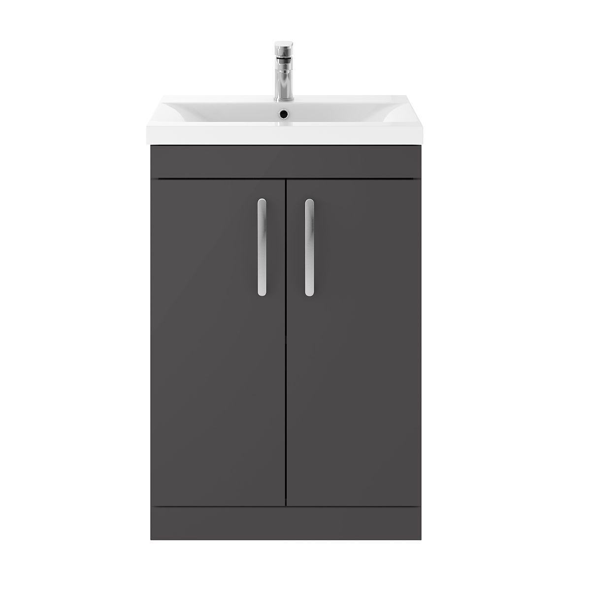 Nuie Athena Gloss Grey 2 Drawer Floor Standing Unit 600mm