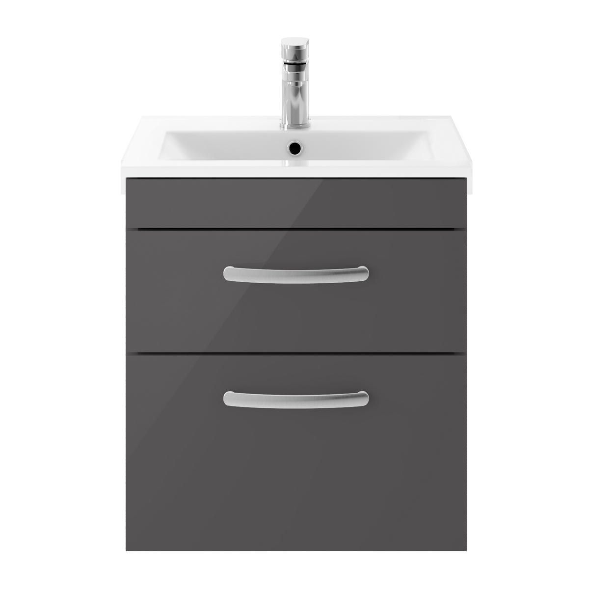 Nuie Athena Gloss Grey Mist 2 Drawer Wall Hung Vanity Unit with 18mm Profile Basin 500mm
