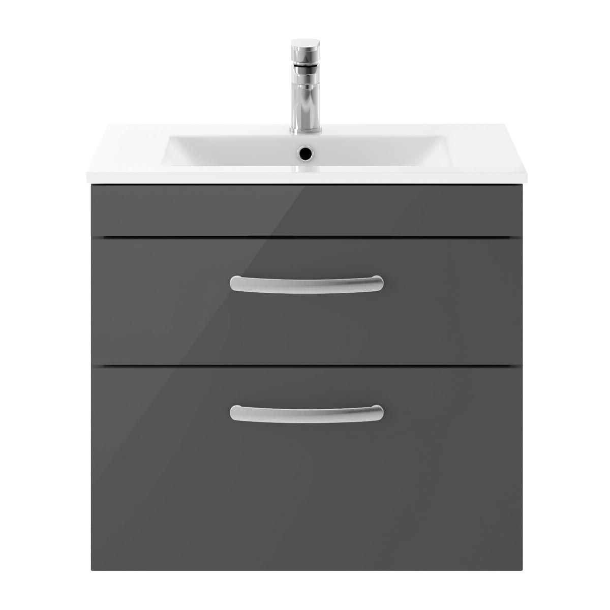 Nuie Athena Gloss Grey 2 Drawer Wall Hung Vanity Unit with 18mm Profile Basin 600mm