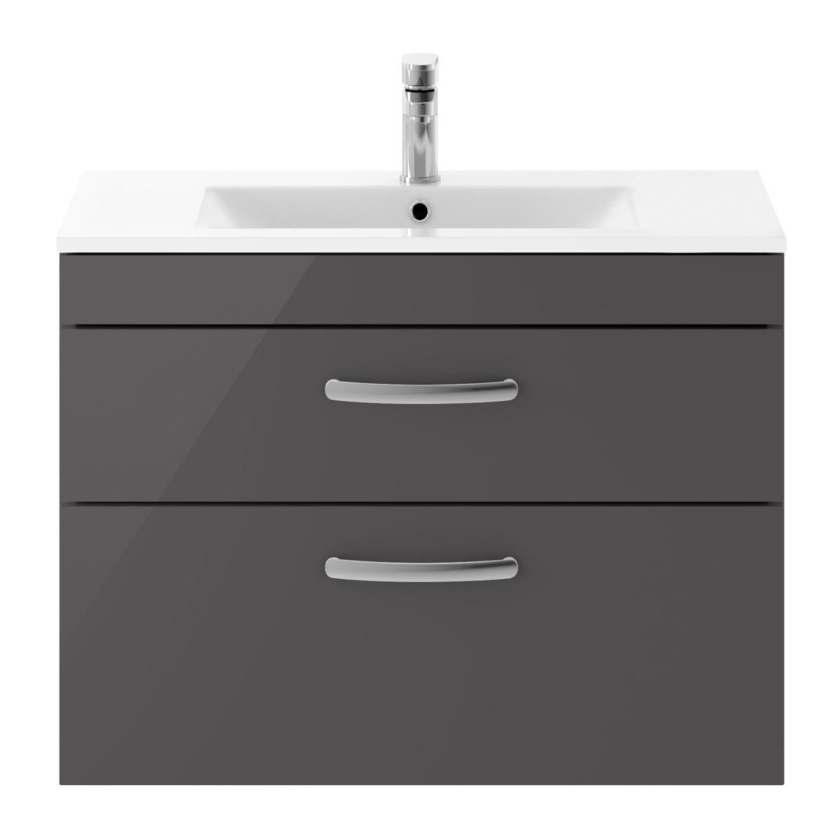 Nuie Athena Gloss Grey 2 Drawer Wall Hung Vanity Unit with 18mm Profile Basin 800mm