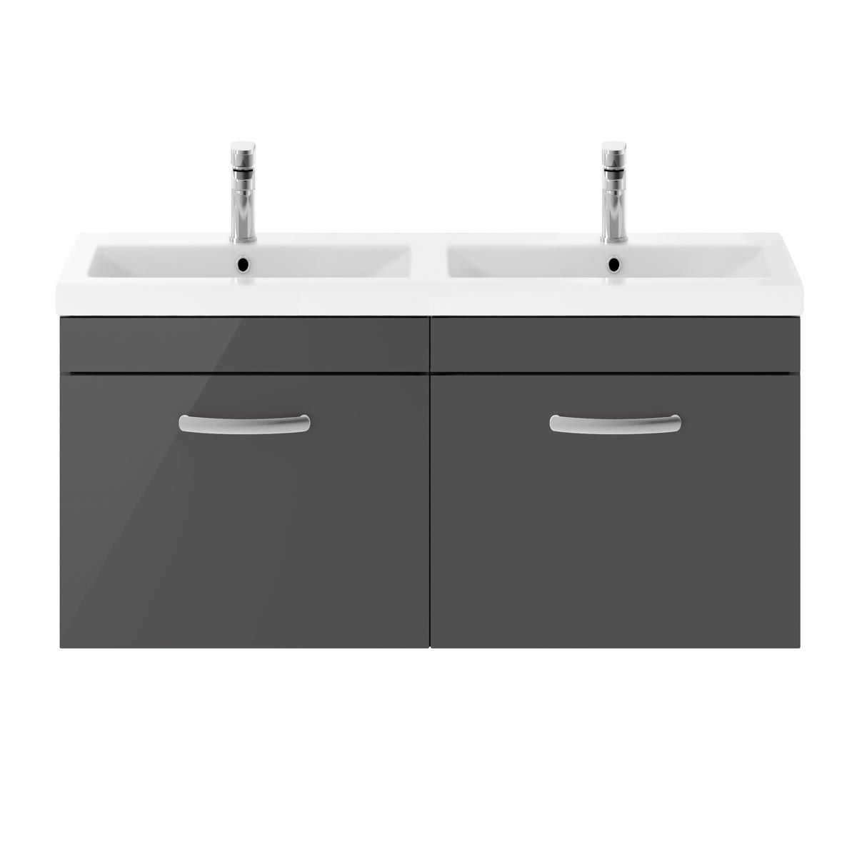 Nuie Athena Gloss Grey 2 Drawer Wall Hung Vanity Unit with Ceramic Double Basin 1200mm