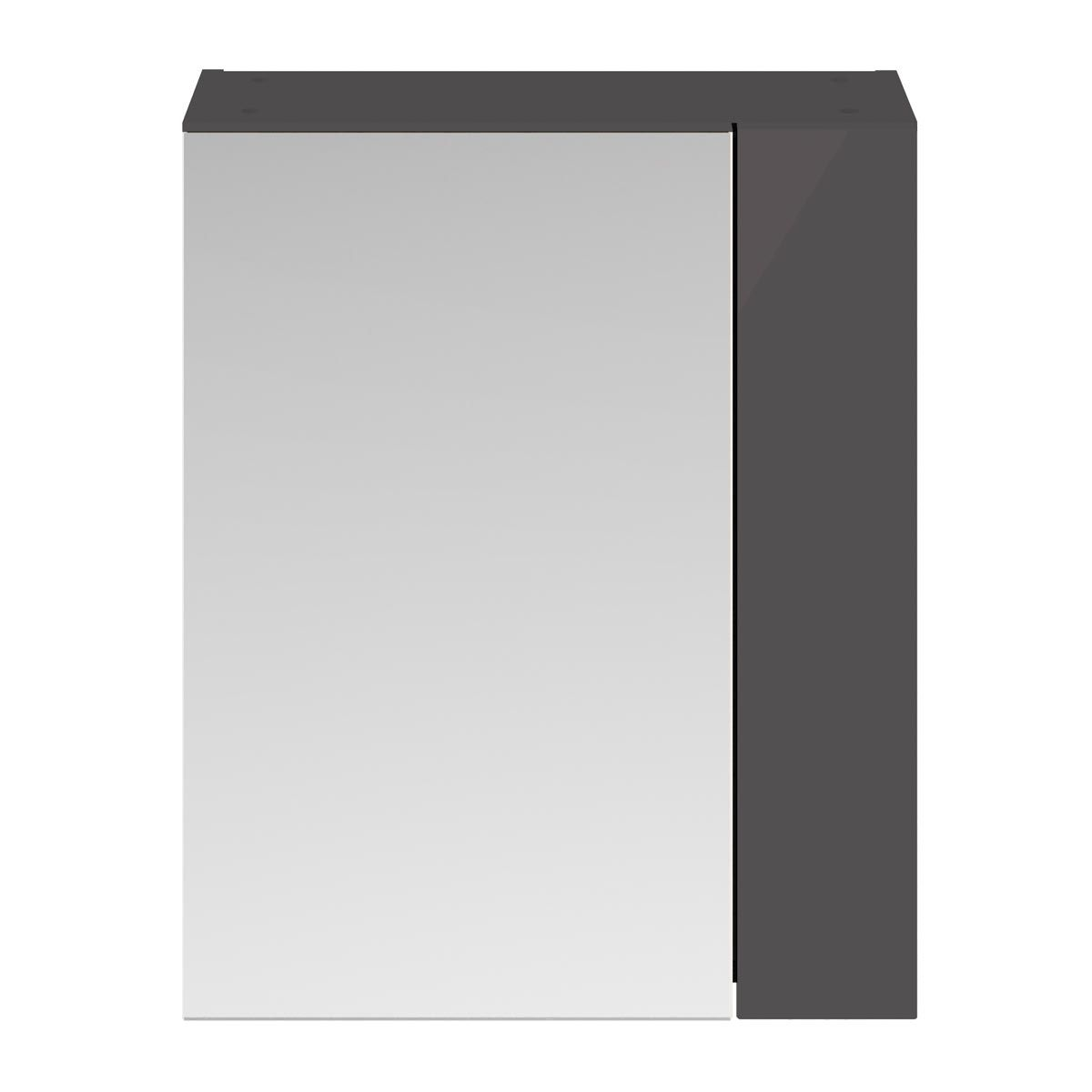 Nuie Athena Gloss Grey Double Mirrored Bathroom Cabinet 600mm
