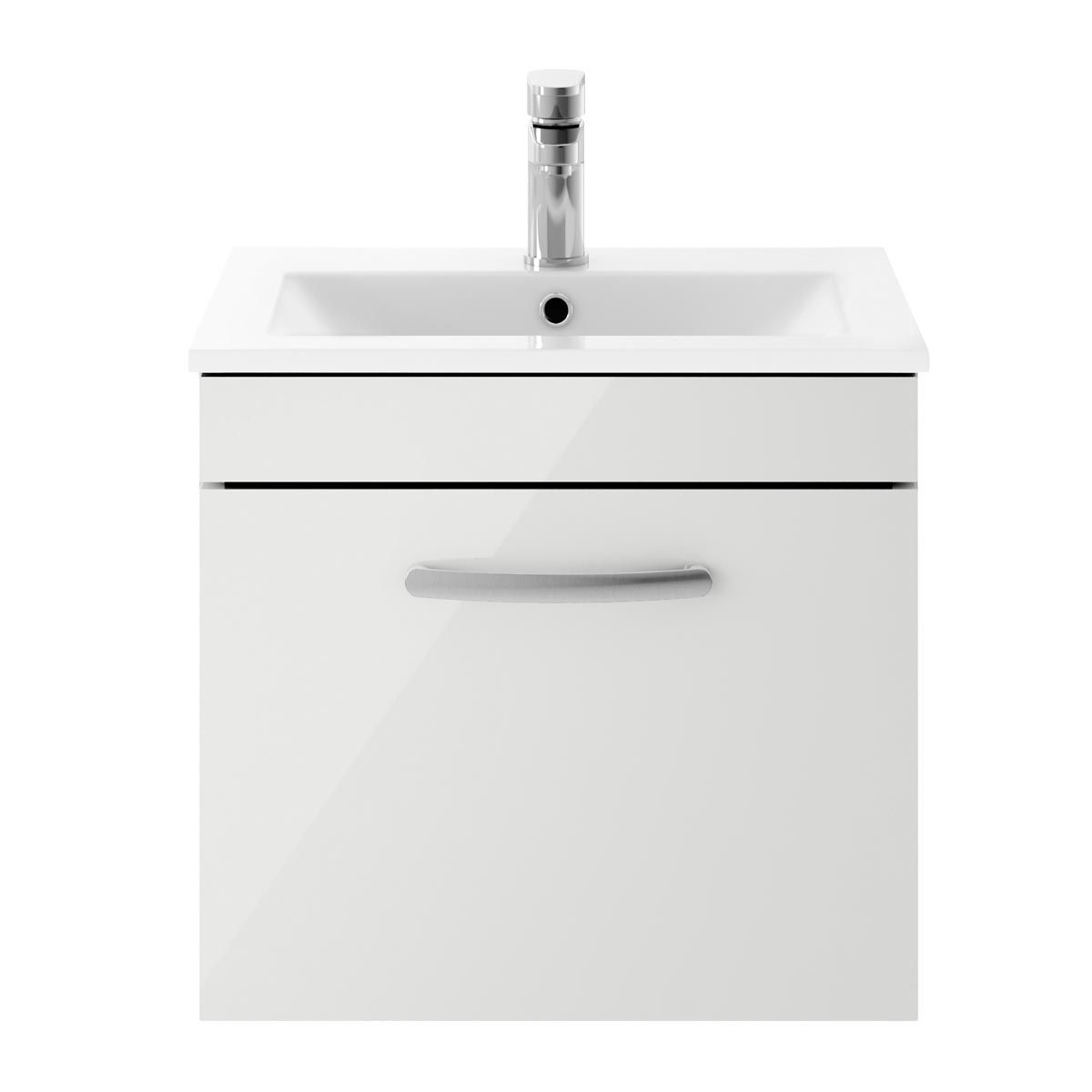 Nuie Athena Gloss Grey Mist 1 Drawer Wall Hung Vanity Unit with 18mm Profile Basin 500mm