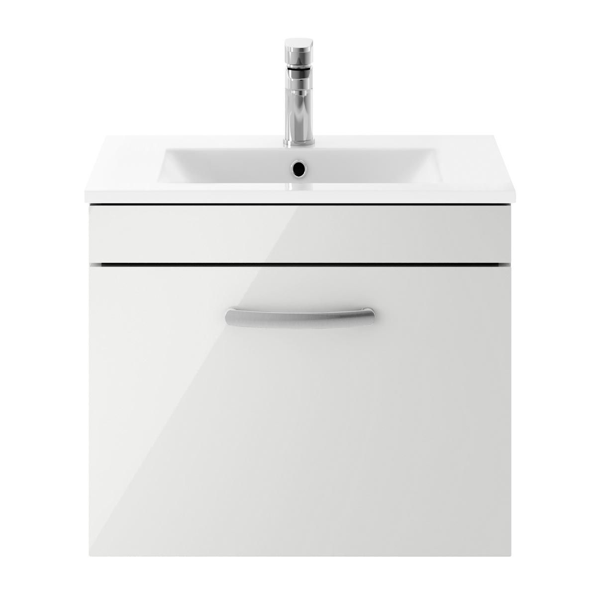 Nuie Athena Gloss Grey Mist 1 Drawer Wall Hung Vanity Unit with 18mm Profile Basin 600mm