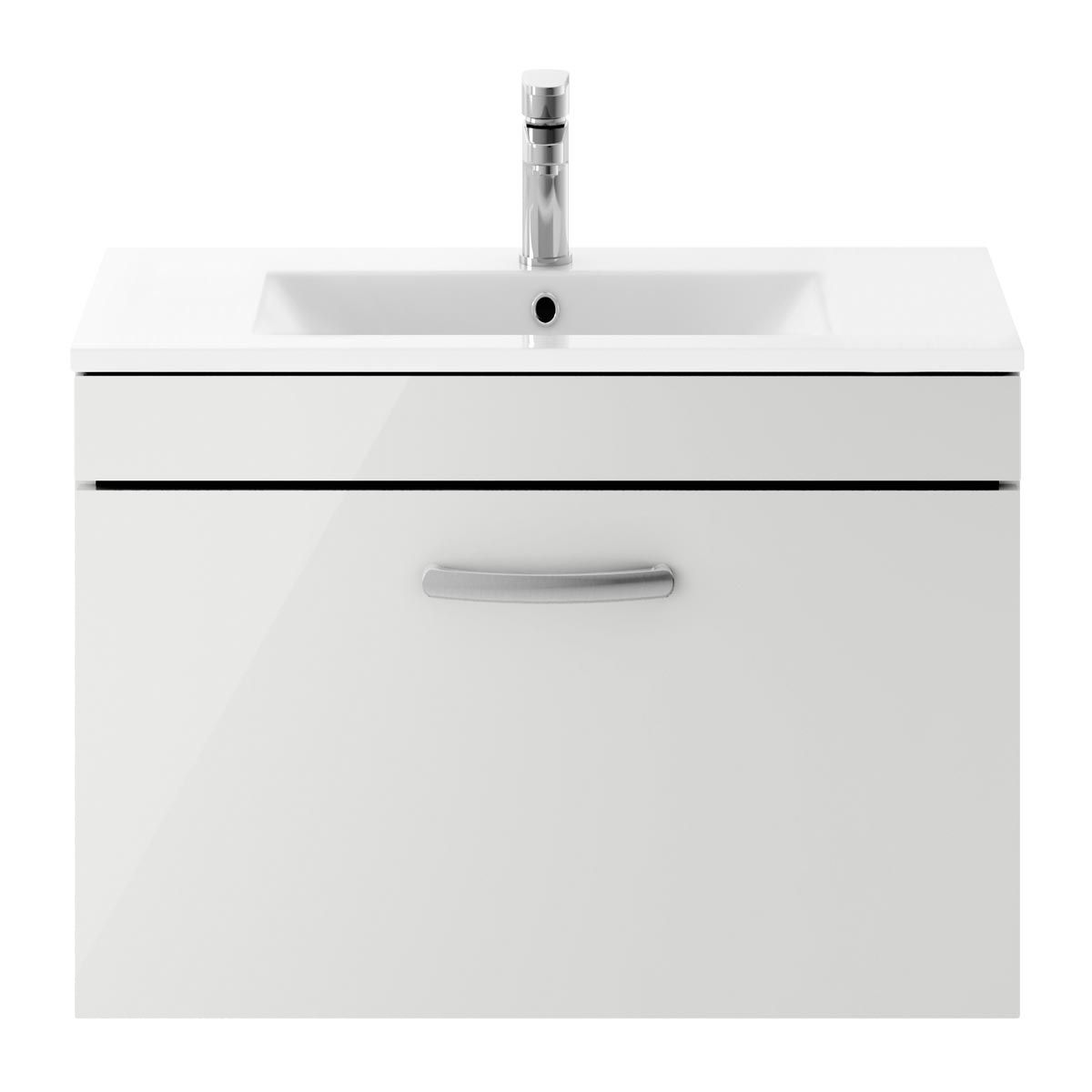 Nuie Athena Gloss Grey Mist 1 Drawer Wall Hung Vanity Unit with 18mm Profile Basin 800mm