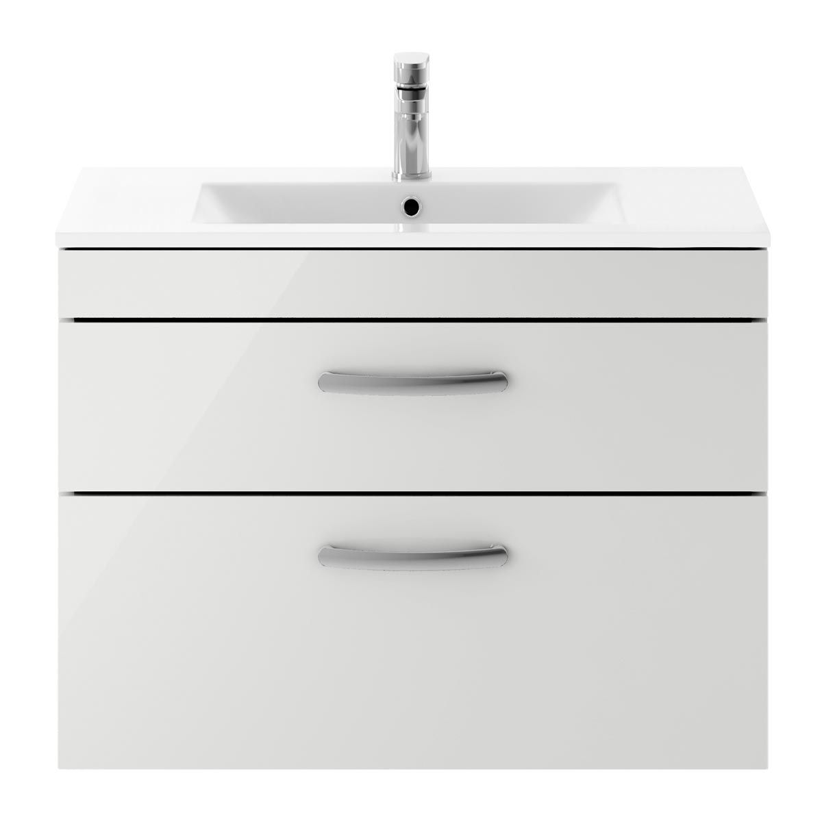 Nuie Athena Gloss Grey Mist 2 Drawer Wall Hung Vanity Unit with 18mm Profile Basin 800mm