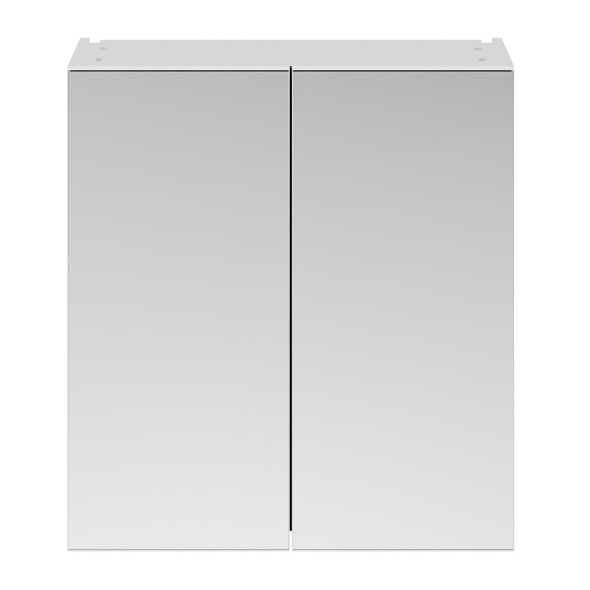 Nuie Athena Gloss Grey Mist Double Mirrored Bathroom Cabinet 800mm