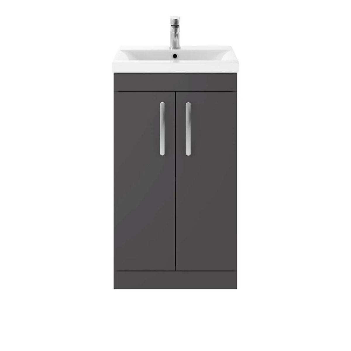 Nuie Athena Gloss Grey 2 Door Floor Standing Unit 600mm