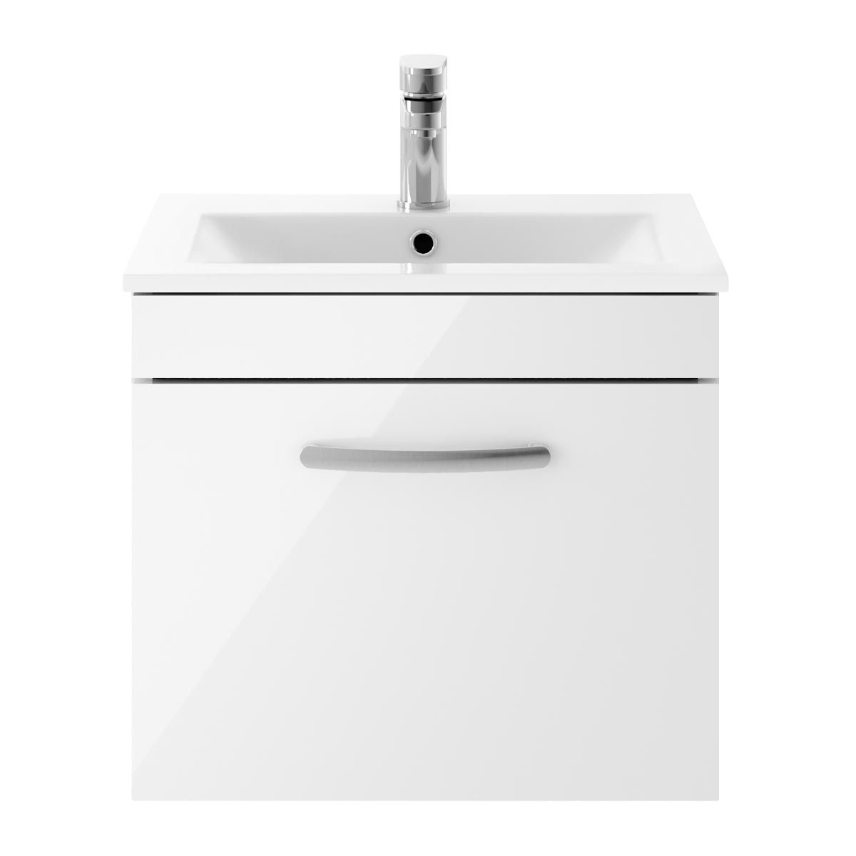 Nuie Athena Gloss White 1 Drawer Wall Hung Vanity Unit with 18mm Profile  Basin 500mm