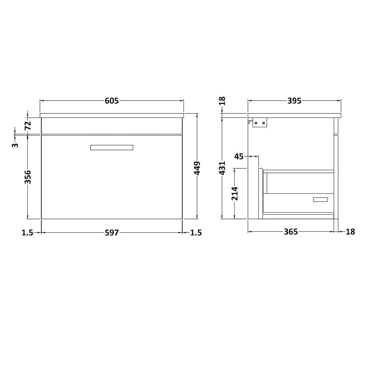 Nuie Athena Gloss White 1 Drawer Wall Hung Vanity Unit with 18mm Profile Basin 600mm Line Drawing