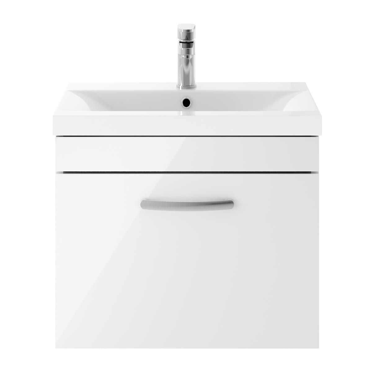 Nuie Athena Gloss White 1 Drawer Wall Hung Vanity Unit with 40mm Profile Basin 600mm