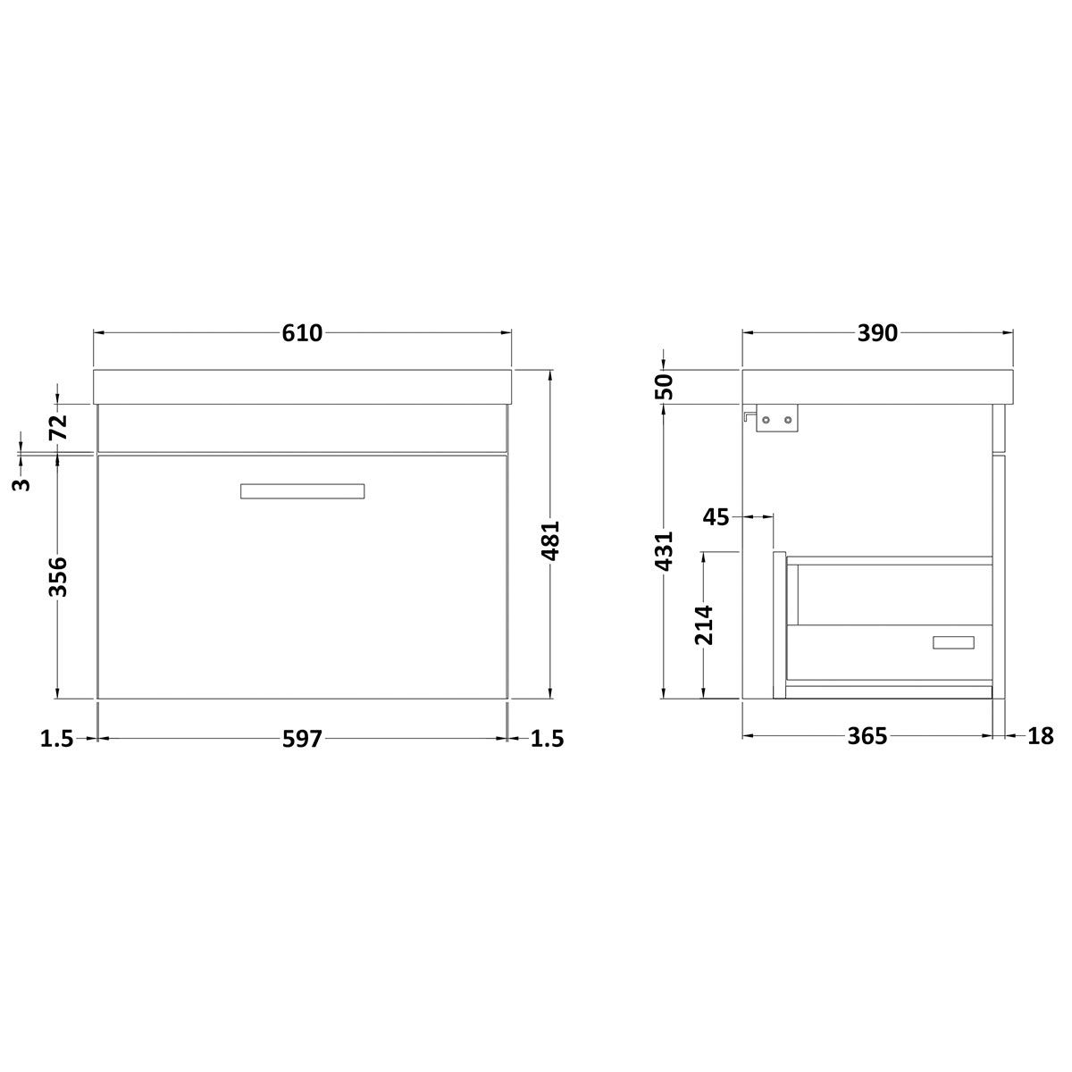Nuie Athena Gloss White 1 Drawer Wall Hung Vanity Unit with 50mm Profile Basin 600mm Line Drawing