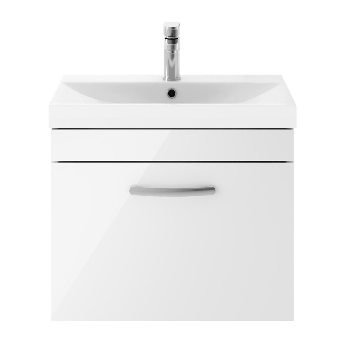 Nuie Athena Gloss White 1 Drawer Wall Hung Vanity Unit with 50mm Profile Basin 600mm