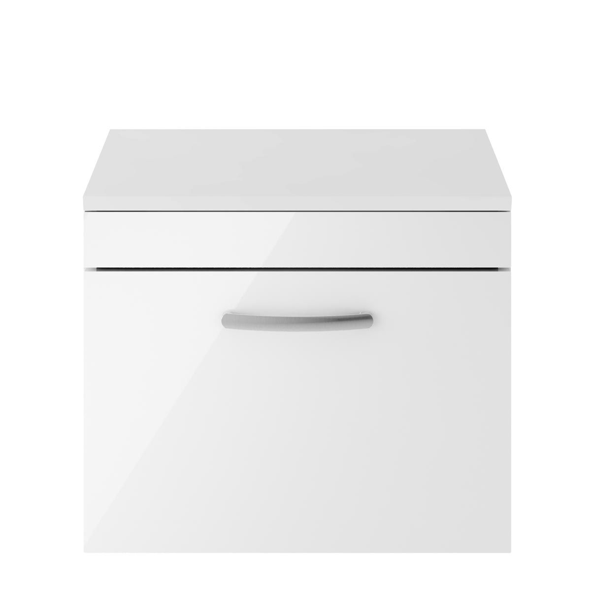 Nuie Athena Gloss White 1 Drawer Wall Hung Vanity Unit with 18mm Worktop 600mm
