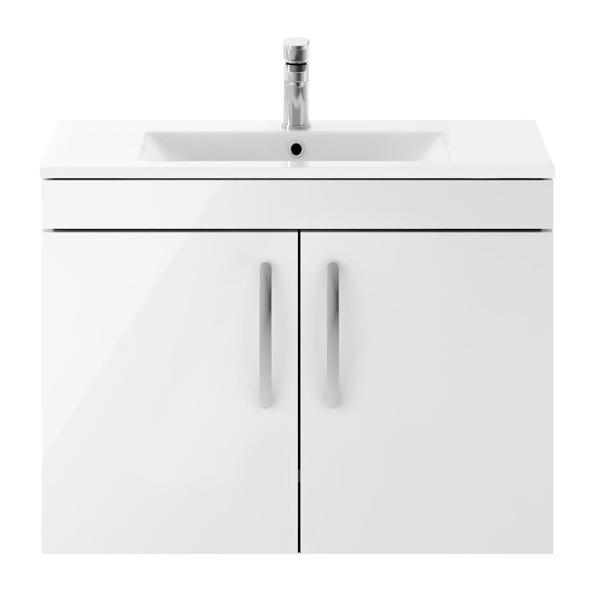 Nuie Athena Gloss White 2 Door Wall Hung Vanity Unit with 18mm Profile Basin 800mm