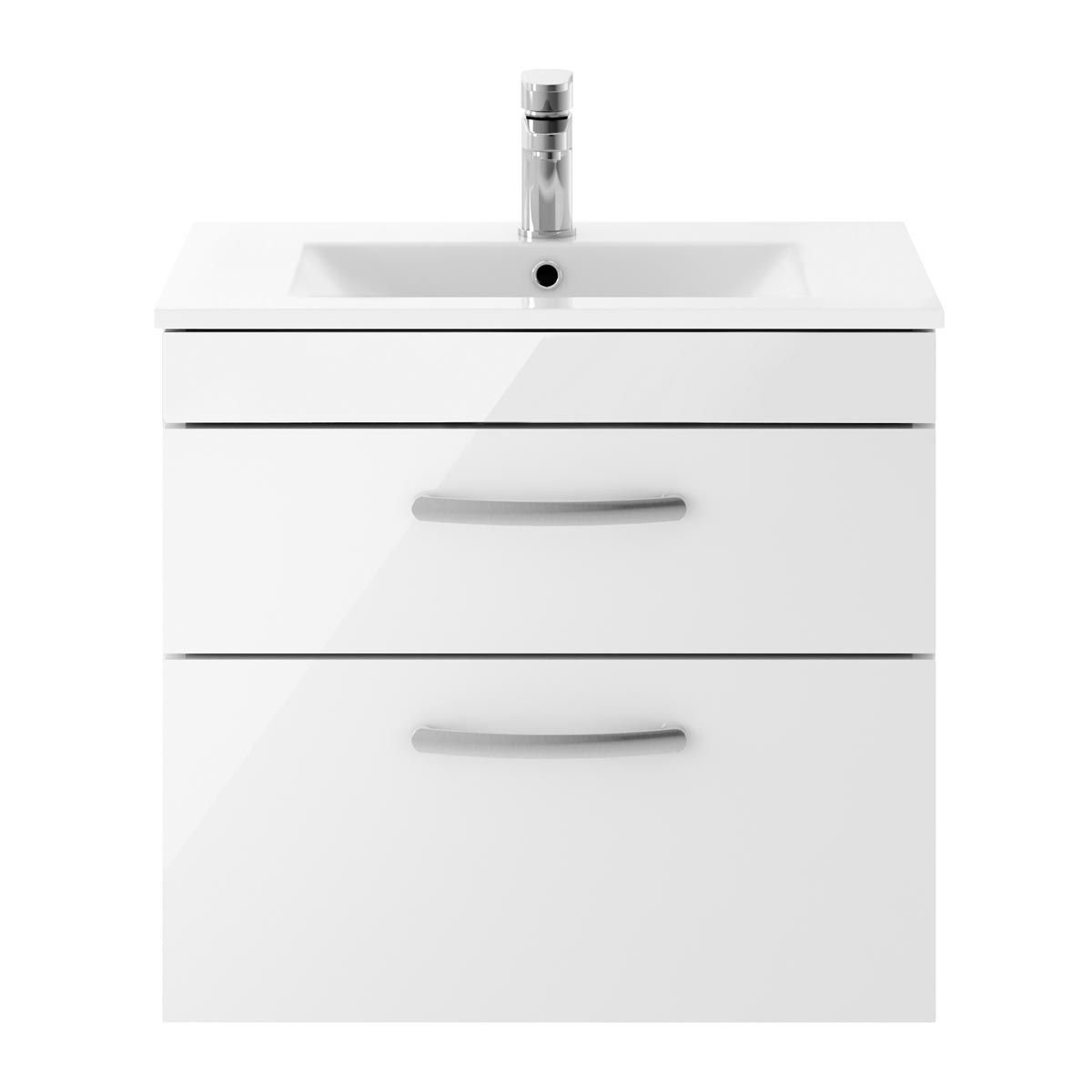 Nuie Athena Gloss White 2 Drawer Wall Hung Vanity Unit with 18mm Profile Basin 600mm