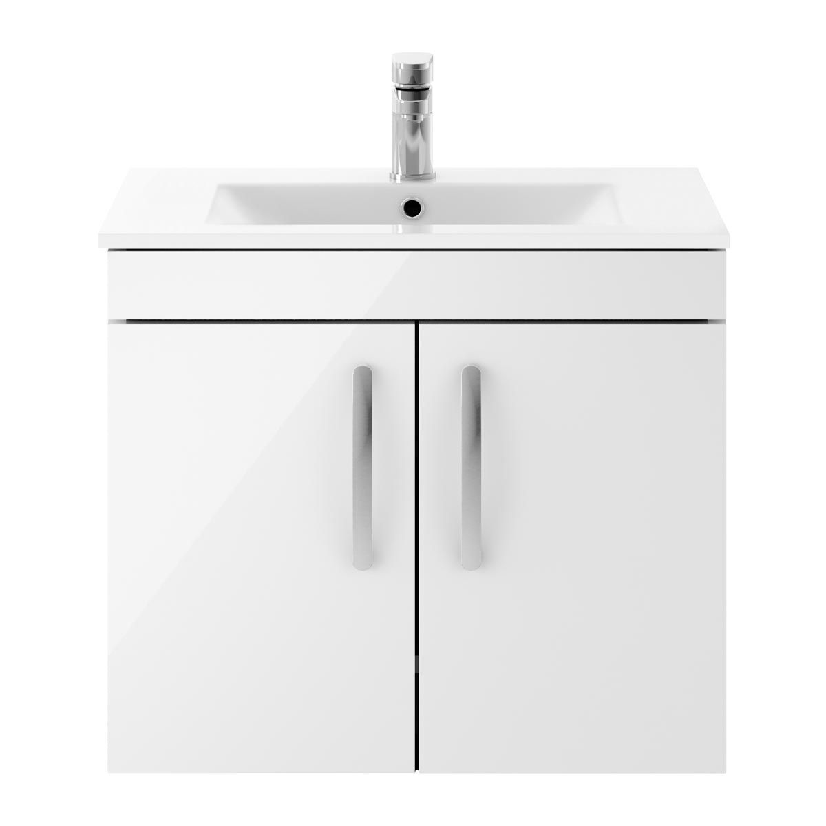 Nuie Athena Gloss White 2 Door Wall Hung Vanity Unit with 18mm Profile Basin 600mm