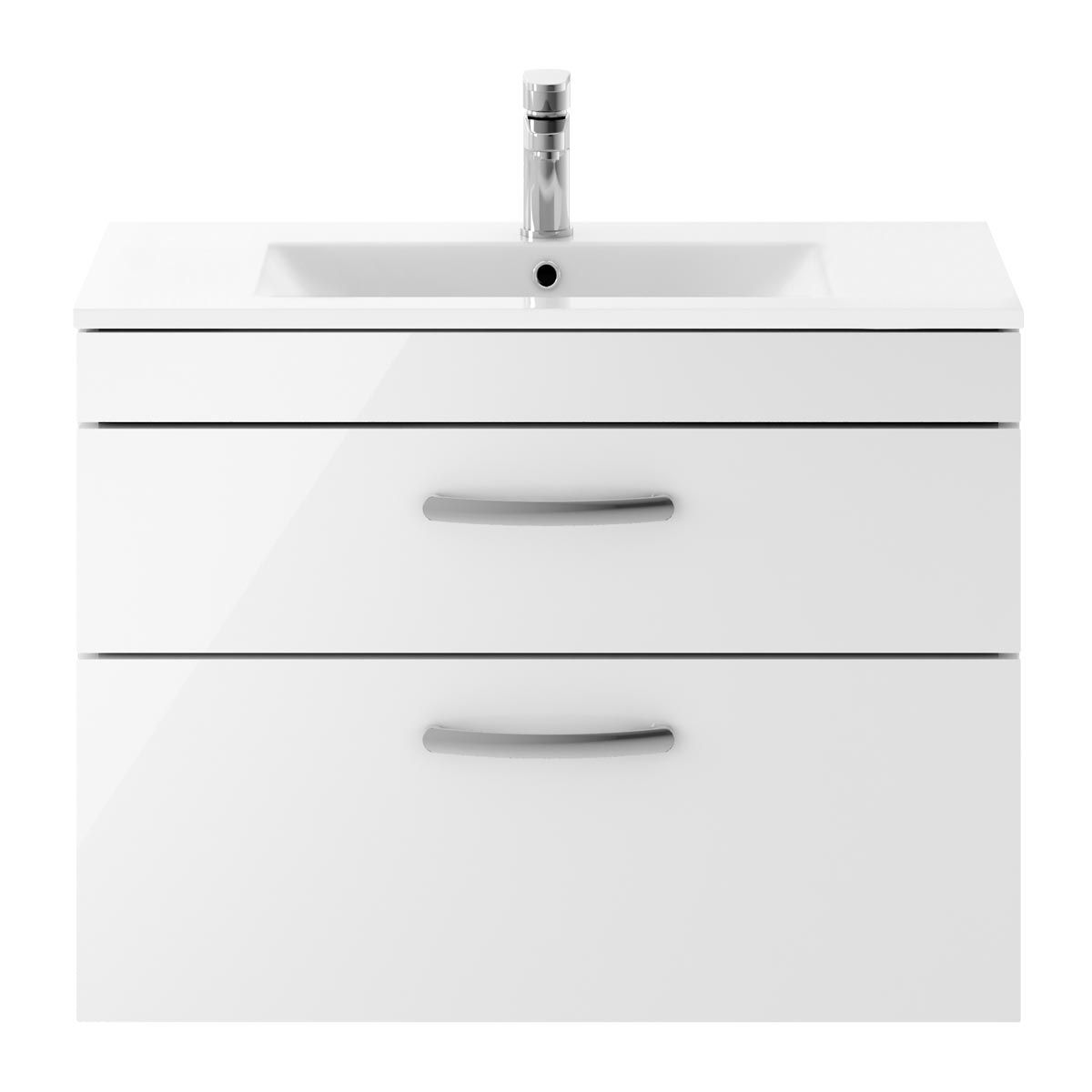 Nuie Athena Gloss White 2 Drawer Wall Hung Vanity Unit with 18mm Profile Basin 800mm