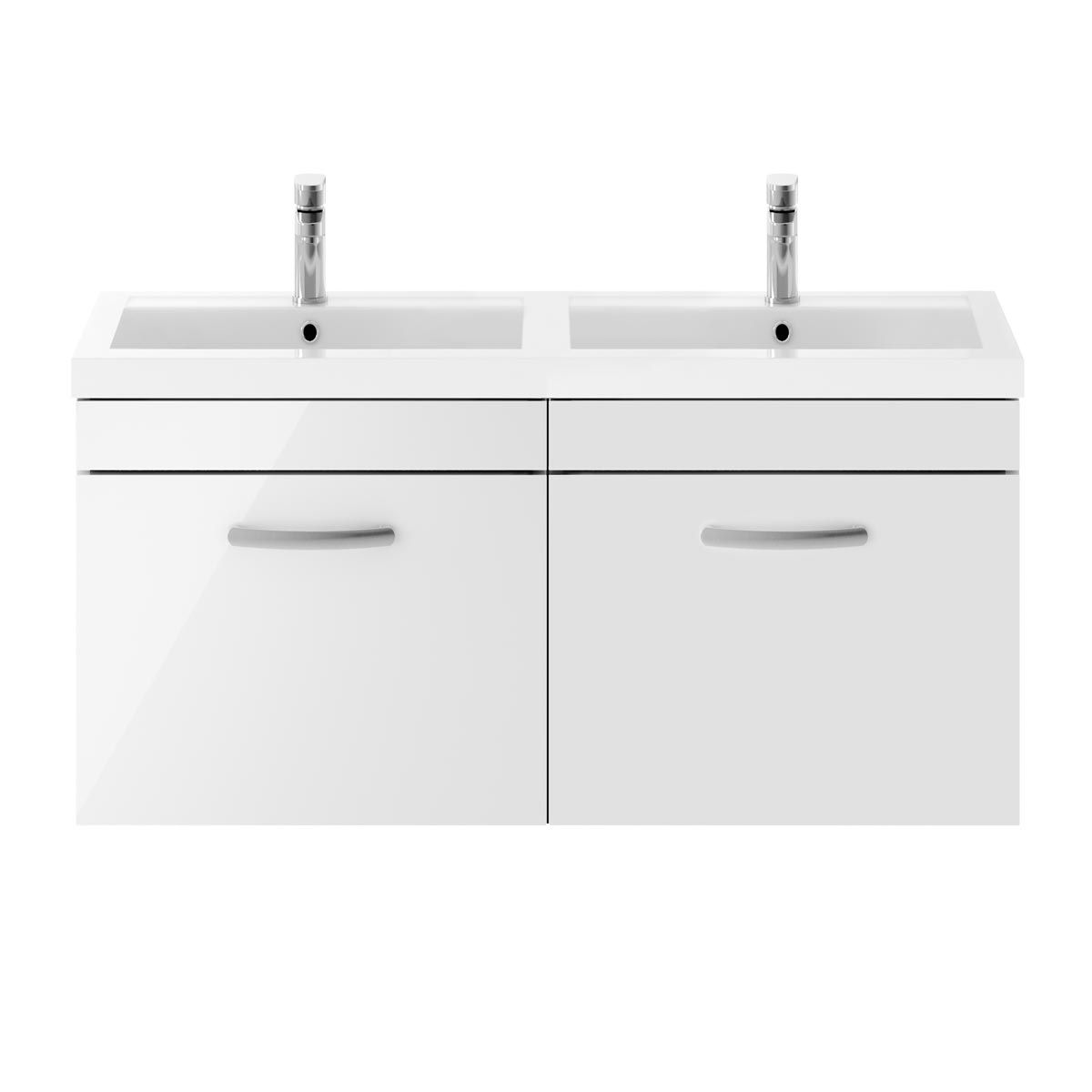 Nuie Athena Gloss White 2 Drawer Wall Hung Vanity Unit with Polymarble Double Basin 1200mm