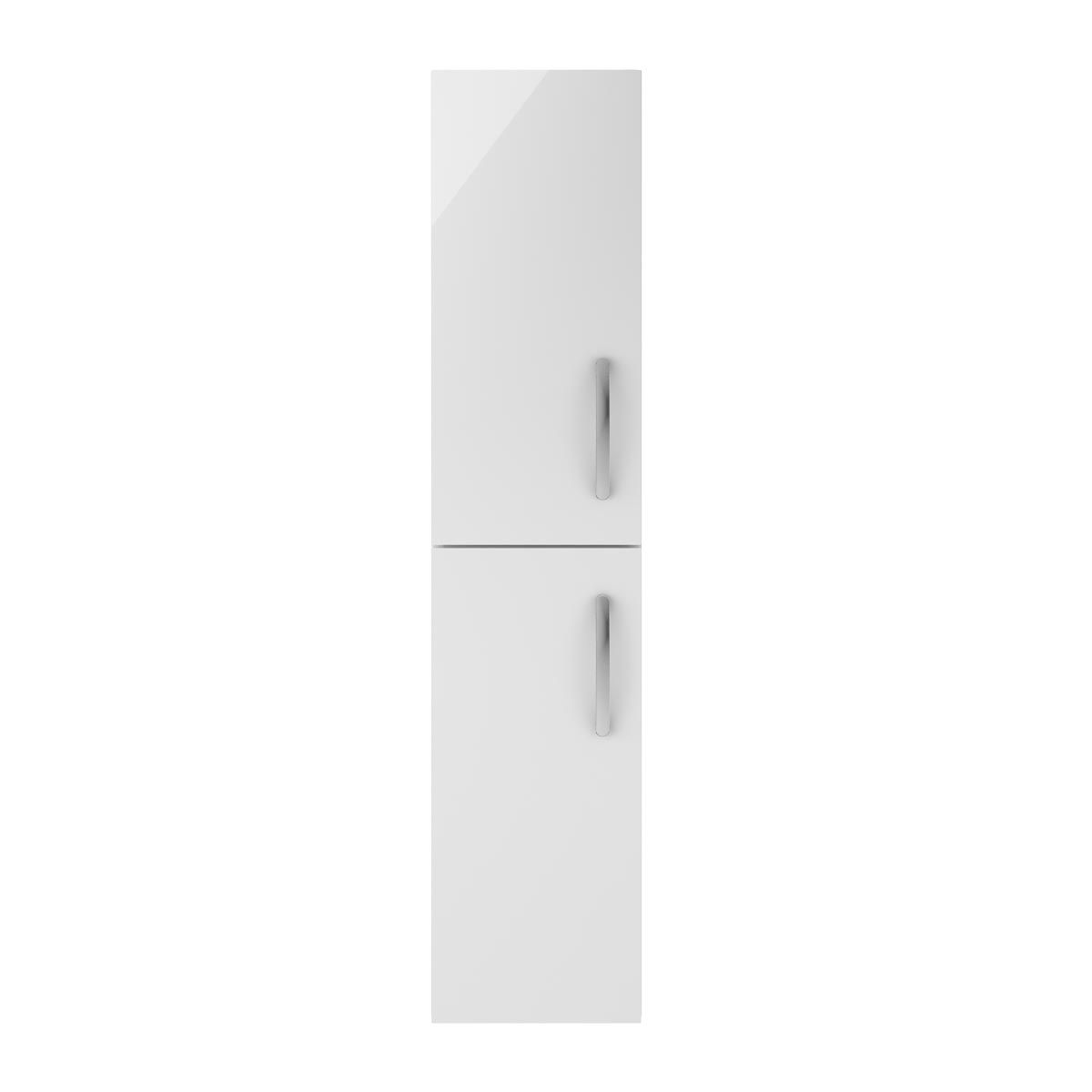 Nuie Athena Gloss White Double Door Tall Unit 300mm