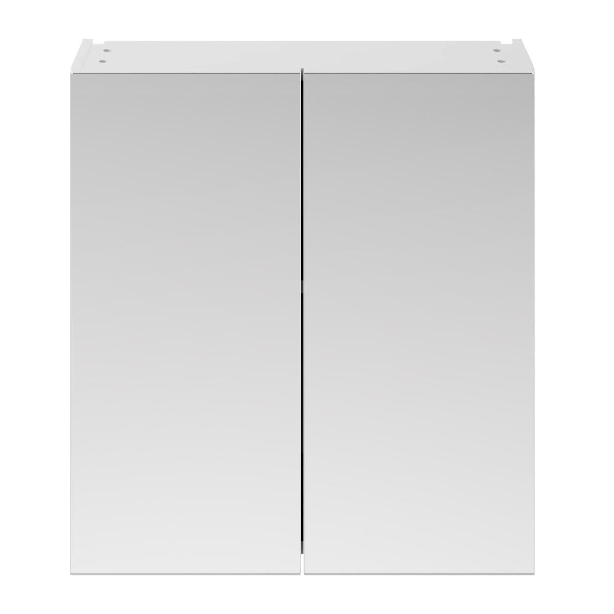 Nuie Athena Gloss White Double Mirrored Bathroom Cabinet 800mm