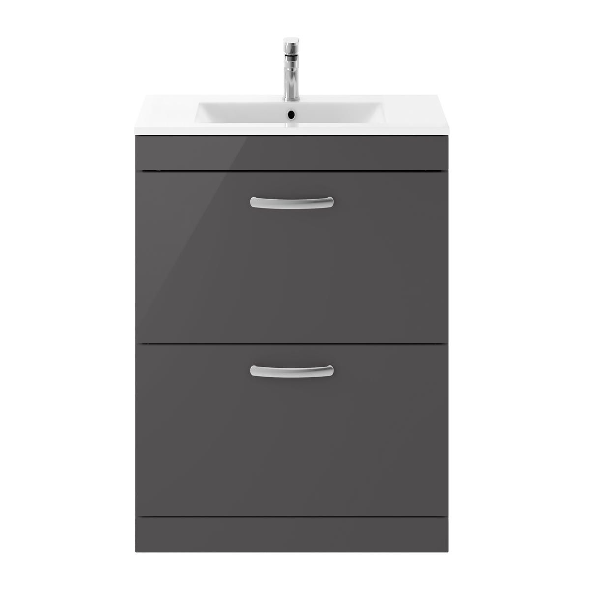 Nuie Athena Gloss Grey 2 Drawer Floor Standing Vanity Unit with 18mm Profile Basin 600mm