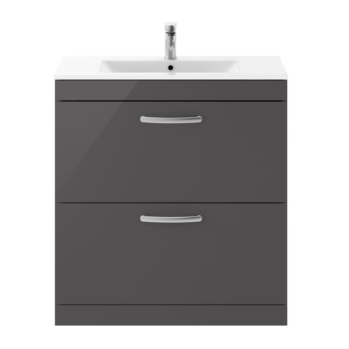 Nuie Athena Gloss Grey 2 Drawer Floor Standing Vanity Unit with 18mm Profile Basin 800mm