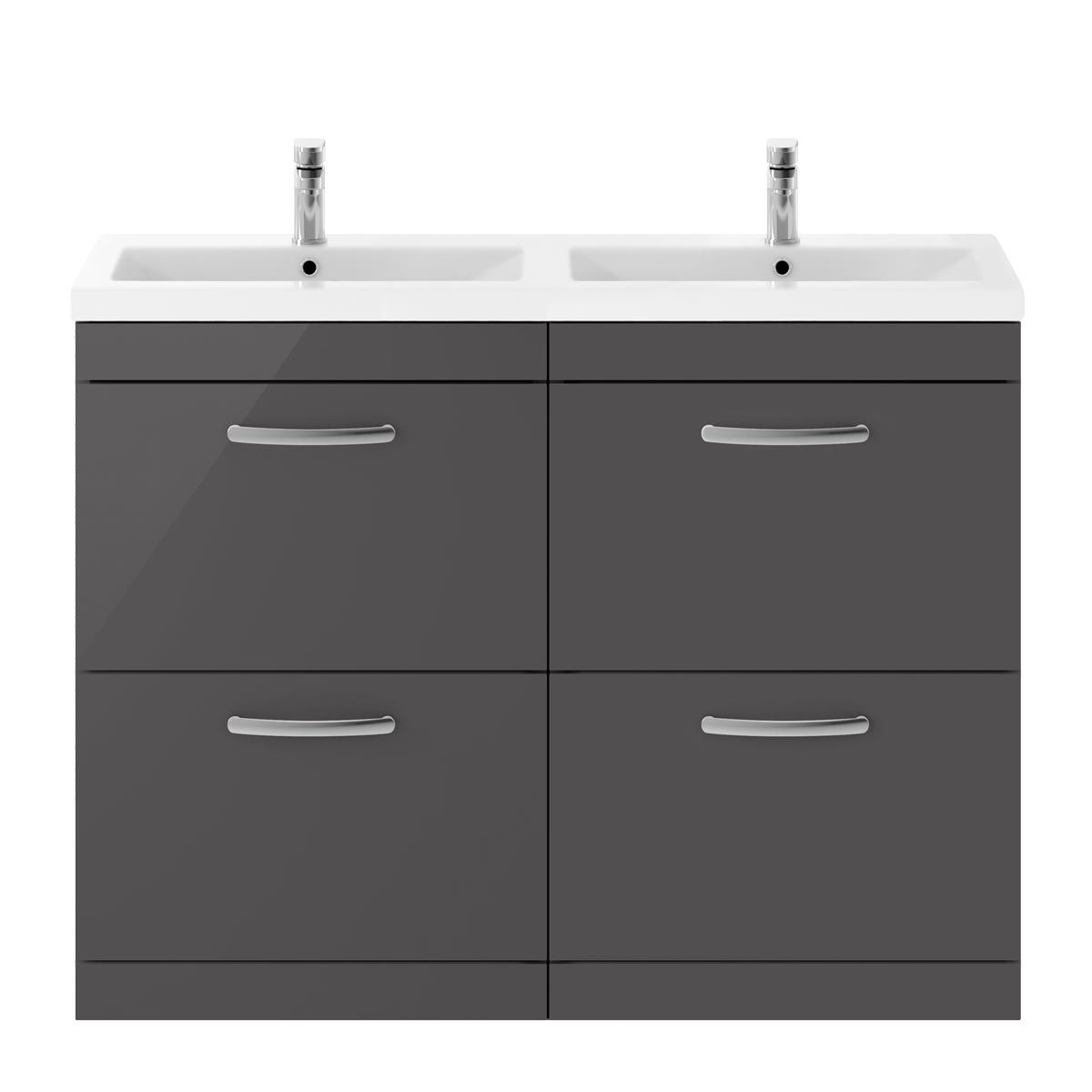 Nuie Athena Gloss Grey 4 Drawer Floor Standing Vanity Unit with Ceramic Double Basin 1200mm