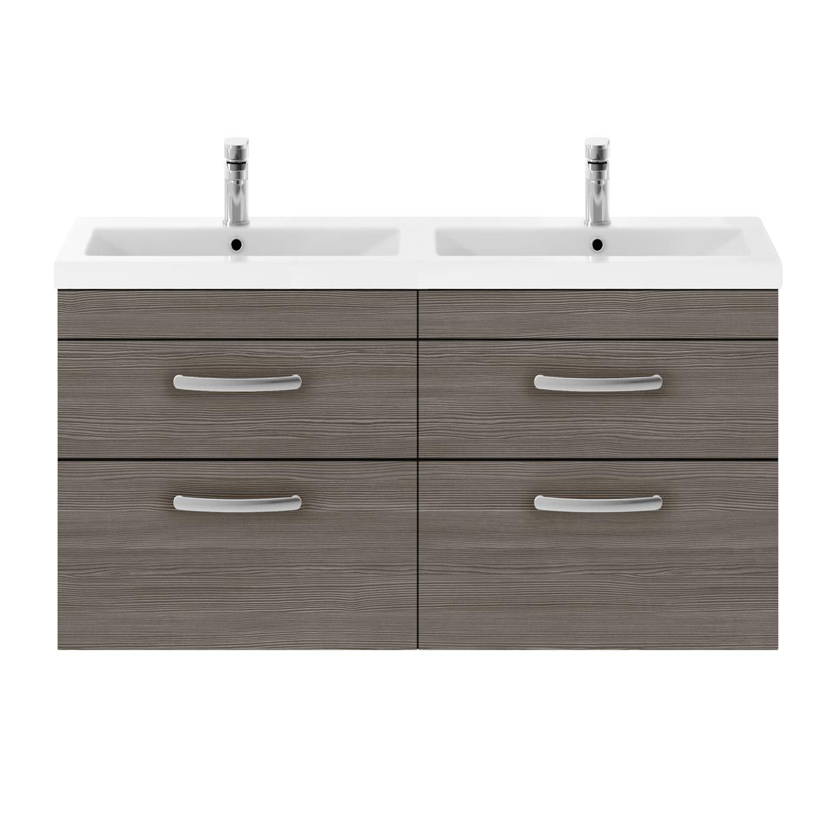 Nuie Athena Brown Grey Avola 4 Drawer Wall Hung Vanity Unit with Ceramic Double Basin 1200mm
