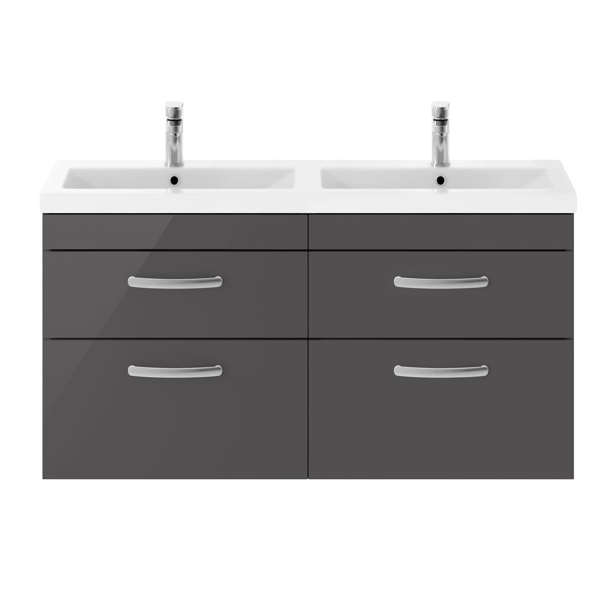 Nuie Athena Gloss Grey 4 Drawer Wall Hung Vanity Unit with Ceramic Double Basin 1200mm