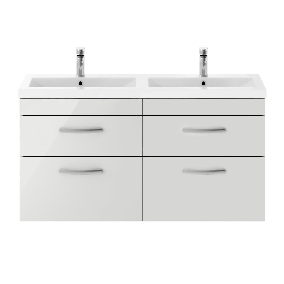 Nuie Athena Gloss Grey Mist 4 Drawer Wall Hung Vanity Unit with Ceramic Double Basin 1200mm