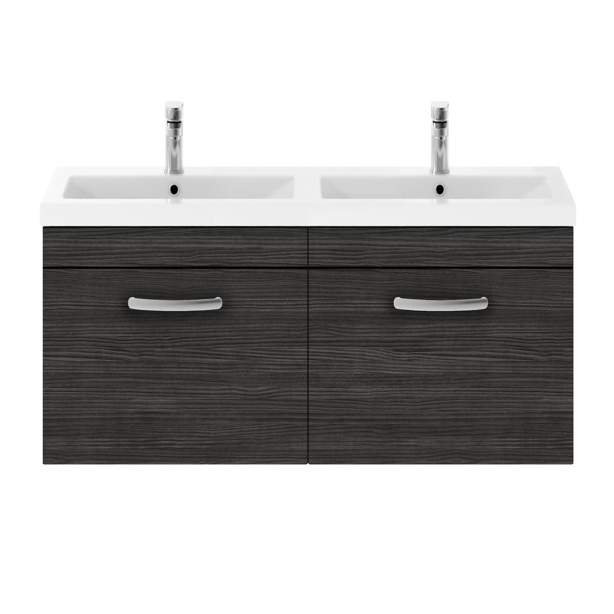 Nuie Athena Hacienda Black 2 Drawer Wall Hung Vanity Unit with Ceramic Double Basin 1200mm