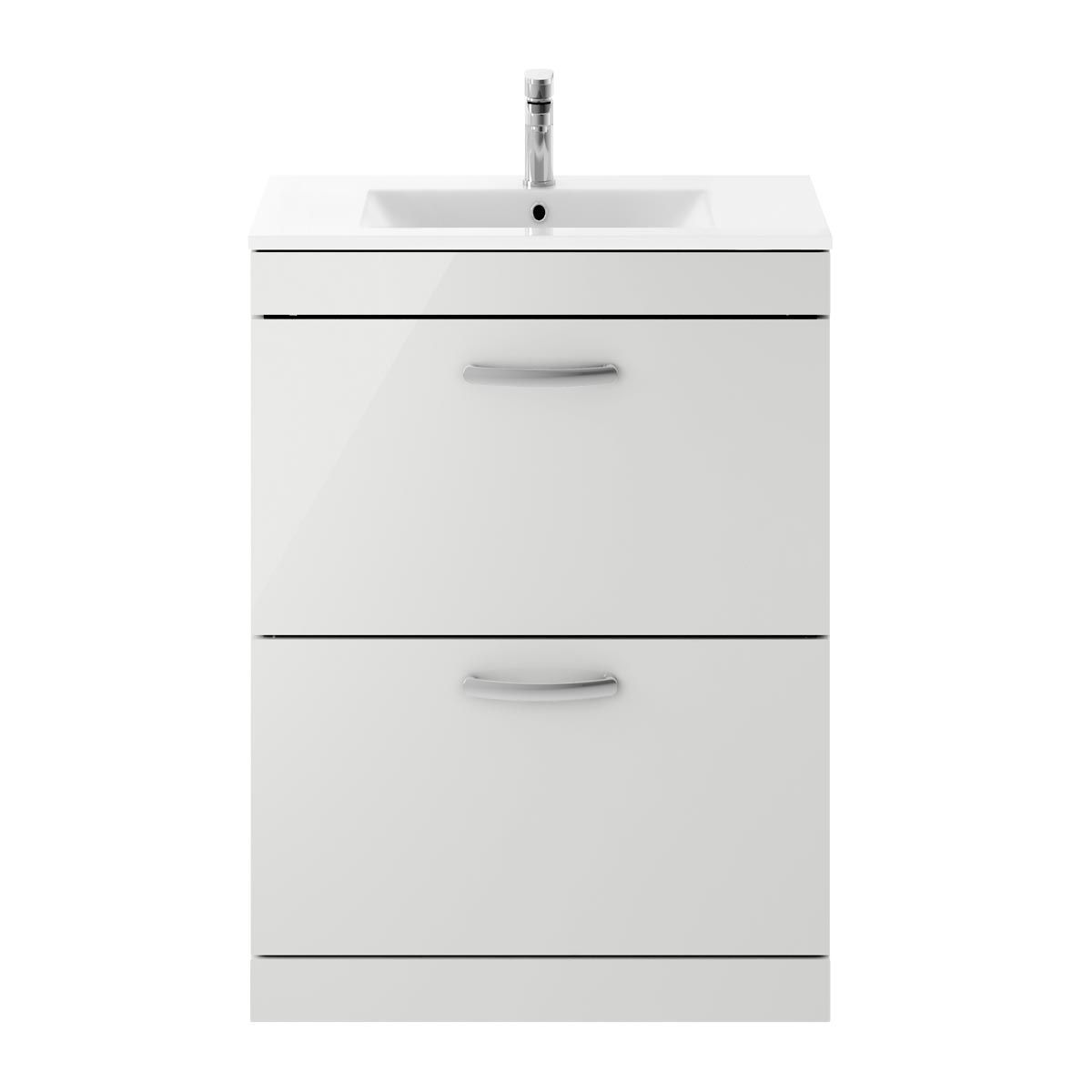 Nuie Athena Gloss Grey Mist 2 Drawer Floor Standing Vanity Unit with 18mm Profile Basin 600mm