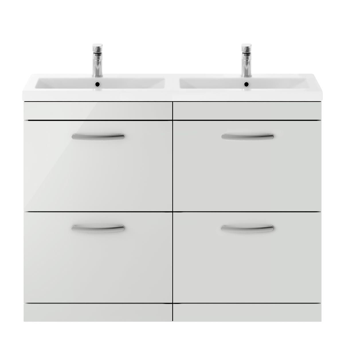 Nuie Athena Gloss Grey Mist 4 Drawer Floor Standing Vanity Unit with Ceramic Double Basin 1200mm