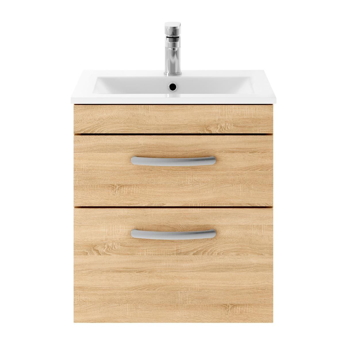Nuie Athena Natural Oak 2 Drawer Wall Hung Vanity Unit with 18mm Profile Basin 500mm