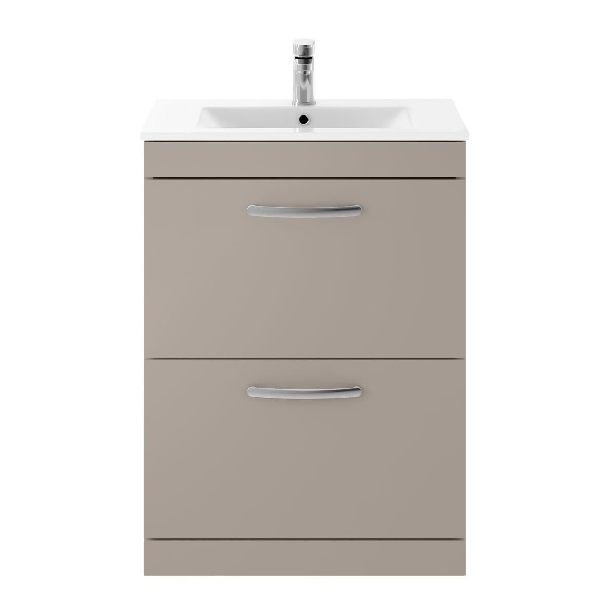 Nuie Athena Stone Grey 2 Drawer Floor Standing Vanity Unit with 18mm Profile Basin 600mm