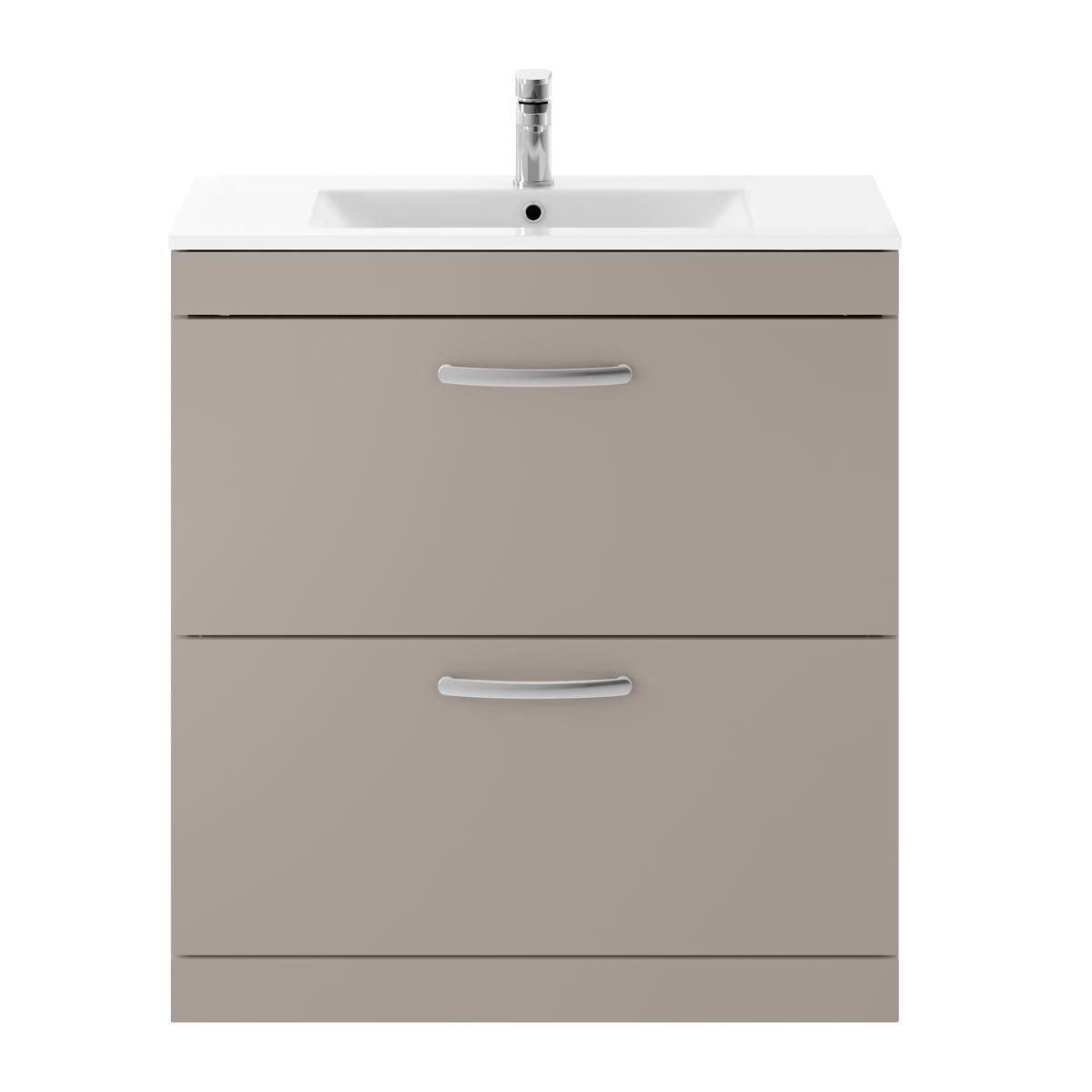 Nuie Athena Stone Grey 2 Drawer Floor Standing Vanity Unit with 18mm Profile Basin 800mm
