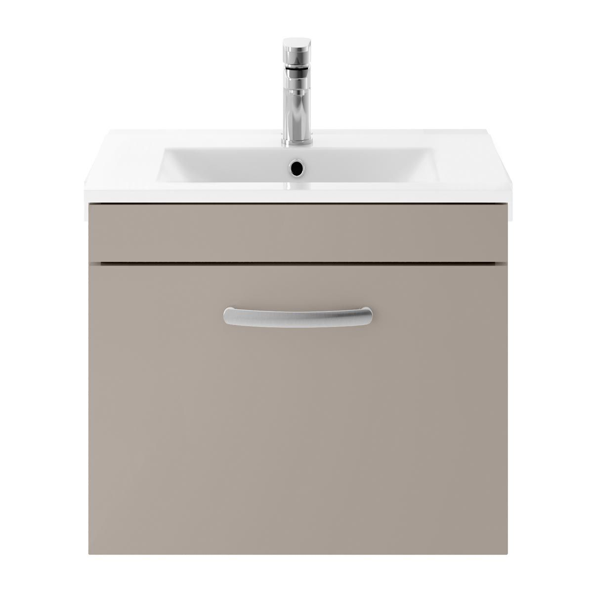 Nuie Athena Stone Grey 1 Drawer Wall Hung Vanity Unit with 18mm Profile Basin 600mm