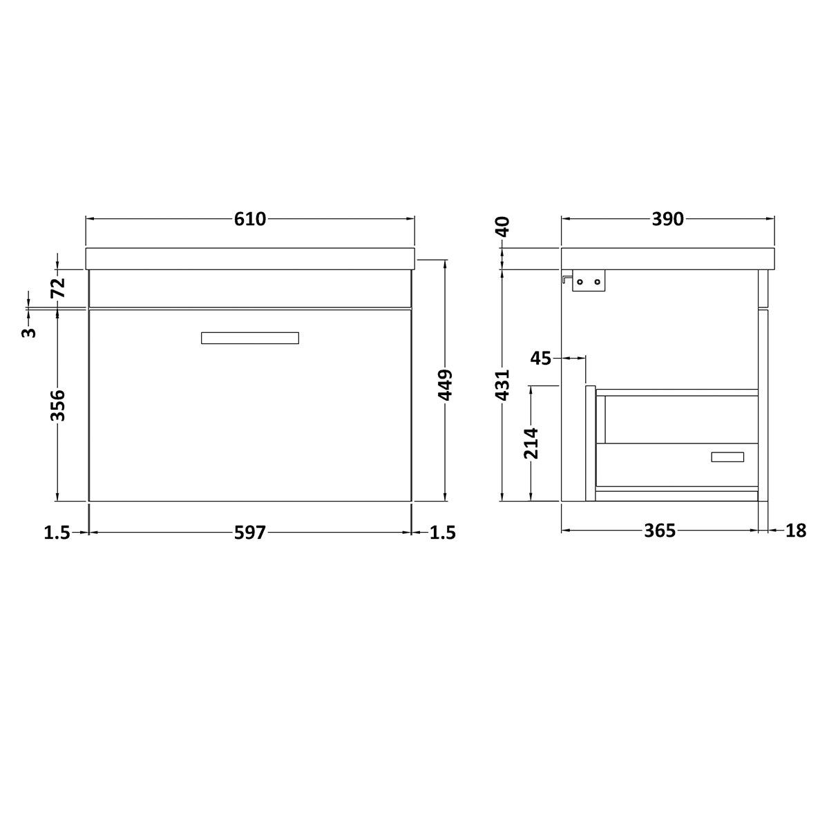 Nuie Athena Stone Grey 1 Drawer Wall Hung Vanity Unit with 40mm Profile Basin 600mm Line Drawing