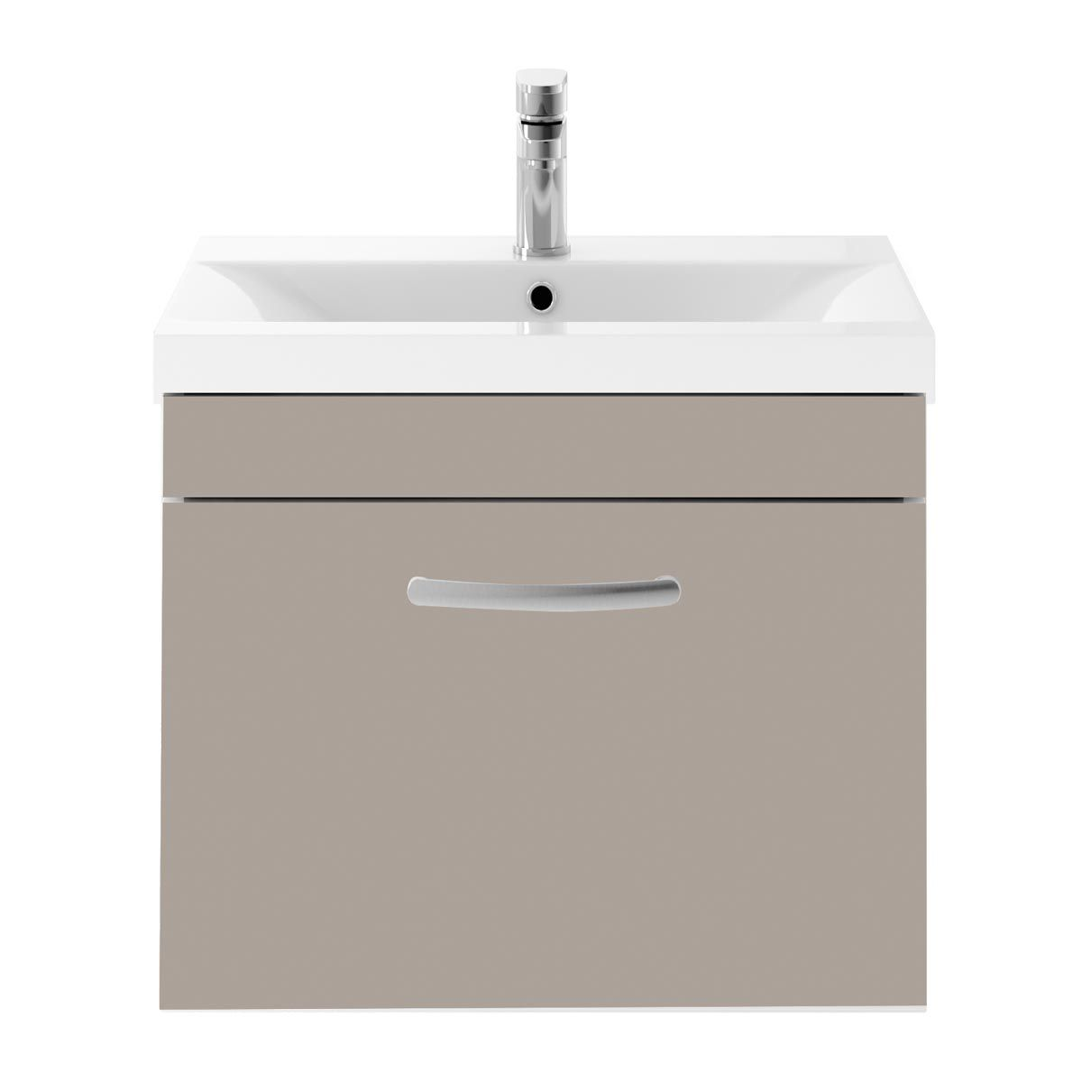 Nuie Athena Stone Grey 1 Drawer Wall Hung Vanity Unit with 40mm Profile Basin 600mm